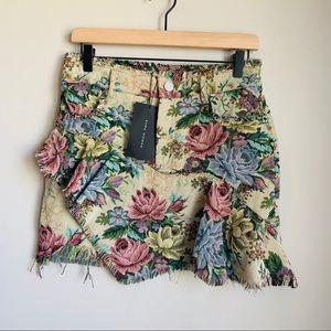 NWT Zara Tapestry Embroidered Ruffle Skirt